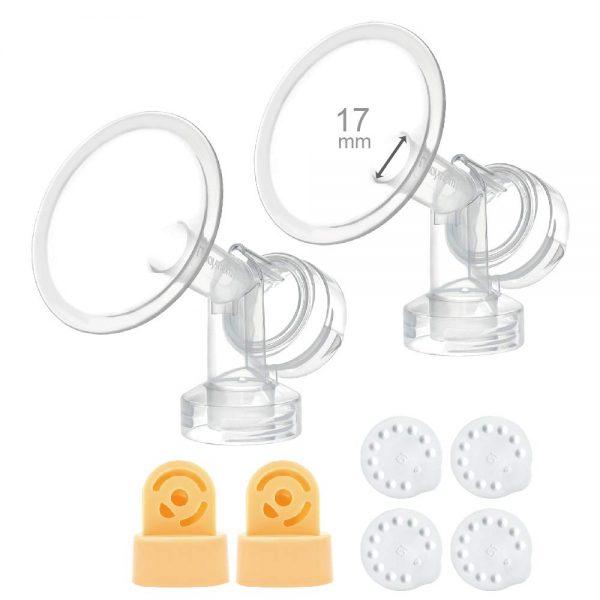 17mm medela flanges with connectors